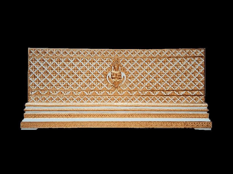 หีบศพทองในสีขาวแกลายพิกุลและเทพพนม