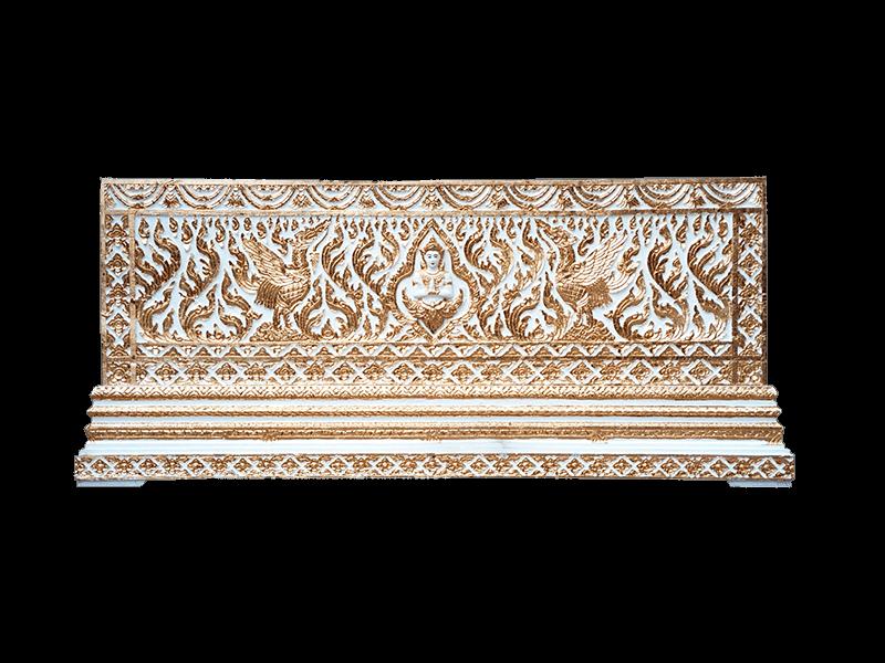 หีบศพทองในสีขาวแกะลายเทพพนมและหงษ์