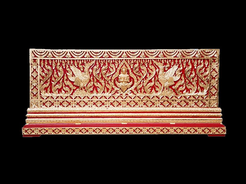 หีบศพทองในสีแดงแกะลายเทพพนมและหงษ์