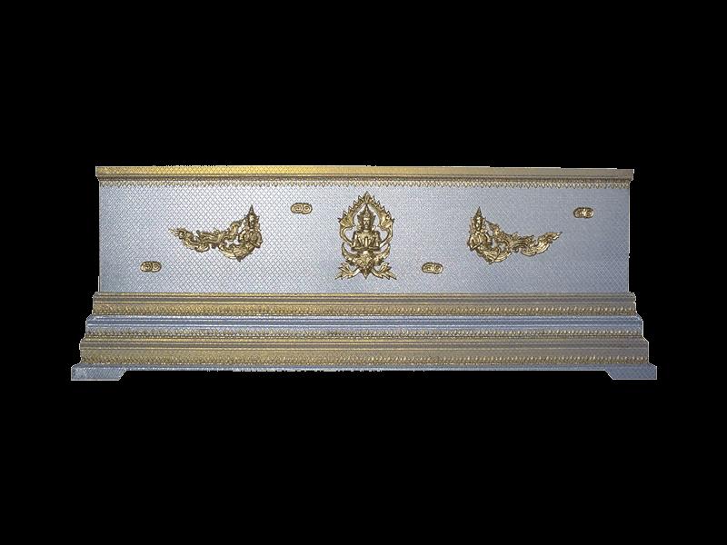 หีบศพบุผ้าตาดเงิน-ทองเรียบฐาน 3 ชั้น