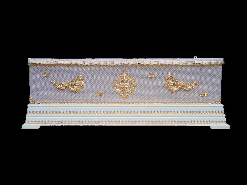 หีบศพผ้าตาดทองเรียบครึ่งใบฐาน 2 ชั้น