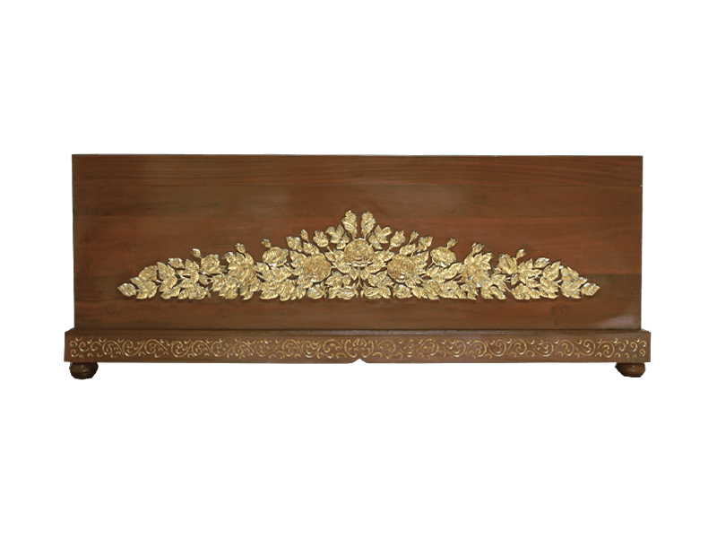 หีบศพไม้สักแกะลายกุหลาบปิดทองคำเปลว 99%